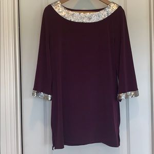 Stunning New Purple Top with Silver Sequins